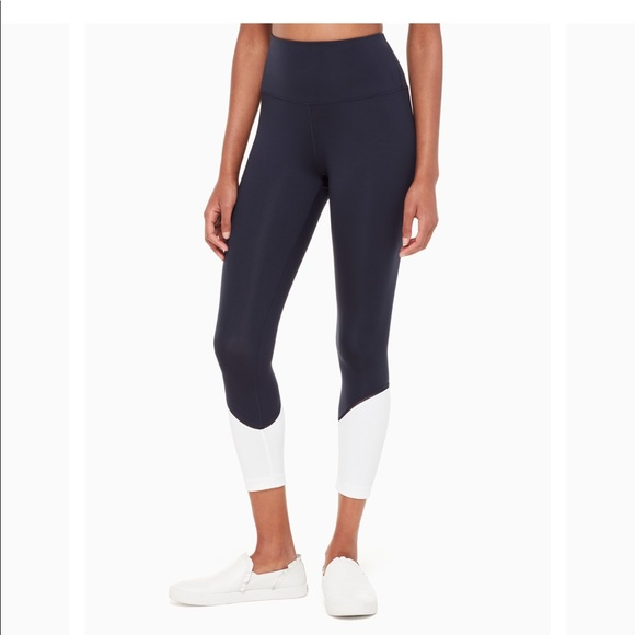 b0425a18848a9 kate spade Pants | Nwt Colorblock Leggings Yoga Navy | Poshmark